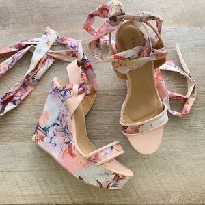 Bamboo Floral Ribbon Lace Up Wedges